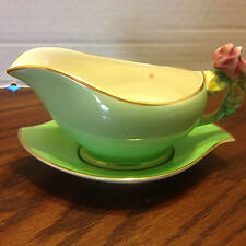 Royal Winton Grimwades Green Rosebud Gravy Sauce Boat with Tray Under Plate