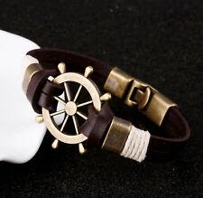 Ship Helm Wheel Leather Bracelet Pirate Nautical Boat Sea