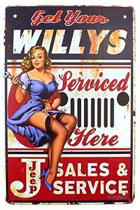 Get Willys Serviced Here Pin Up Garage Workshop Metal Wall Door Sign 30 x 20 cm