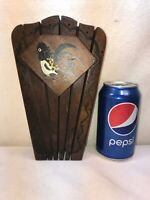 Vtg 60-70's Woodpecker Woodware Japan Tole Paint Country Wood Block Knife Holder