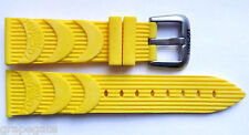 Locman 24 mm YELLOW RUBBER Watch Band with Logo-Engraved Titanium Buckle. NEW