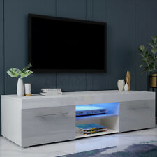 51'' High Gloss TV Stand Cabinet Modern Gray with LED Light Entertainment Center