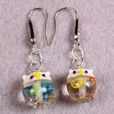 Murano Lampwork Glass Floral Enamel Bird Owl Animal Dangle Hook Earrings Jewelry