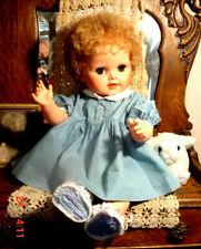 "VTG 1961 Large 20"" Beautiful Baby Beth BlueEyes Curly Hair Girl Big Vinyl Doll"