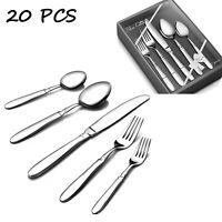20Pcs Silverware Set Flatware Cutlery Set for 4 Stainless Steel Knife Fork Spoon