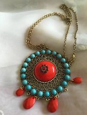"""Large Pendant Statement Necklace Disc Shaped Pendant Nr 3"""" On 32"""" Fixed Chain"""