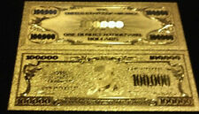 <>~4Pc.LOT~ GOLD $100,000 Banknote W/  COIN / FLAKE W/ Pouch~FREE S&H