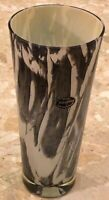 "Jozefina Krosno Made In Poland Hand Blown Glass Marble Gray White 10x4.5"" Vase"