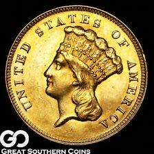 1874 Three Dollar Gold Piece, $3 Gold Indian Princess, Gorgeous Rich Choice BU++