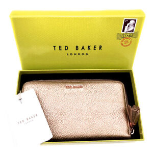 TED BAKER Large Rose Gold Tassel Leather Zip Purse Wallet Gift Boxed