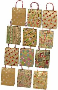 Christmas Gift Bags, Kraft with Foil Hotstamps, 12 Pack