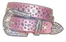 New Women Western Rhinestone Bling Crystal Stud Buckle Pink Leather Belt M