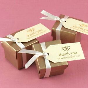 Ivory Gold Linked Heart Hearts Thank You Wedding Favor Tags Cards 25/pk