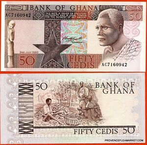 Ghana Ticket New Of 50 Cedis Pick22b Homme Taillant Coconut 1980