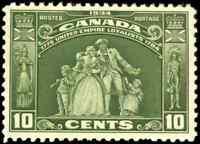 Canada #209 mint VF OG NH 1934 Loyalists Statue 10c olive green CV$80.00