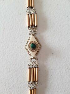 Aztec Peruvian Silver Bracelet Green Cream Stone Beaded Jewelry Jewellery Fancy