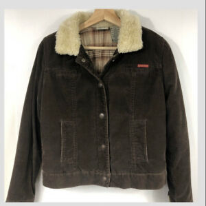 Roxy Jean Thin Corduroy Fur Collar & Cuff Jacket Sz Small