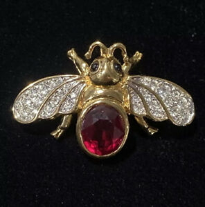 Women's D'Orlan Faceted Sapphire White Crystal Rhinestone Insect Pin Brooch