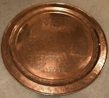 37.5 inch diameter Copper Plate or Table Top vintage antique etchings unknown