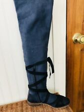 Free People Blue West End Over The Knee Leather Boots MRSP $398 Sz 38. 7.5