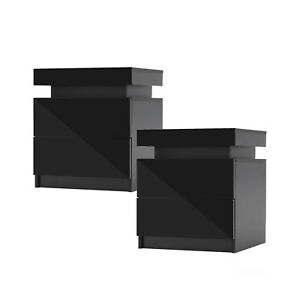 2x LaBella Bedside Tables 2 Drawers RGB LED Cabinet Nightstand Gloss BLACK