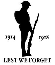 Lest We Forget Heroes Soldier/Military/Charity Car/Van Sticker 1914-1918 Decal