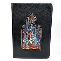 Vintage World Holy Bible King James Version KJV Black Red Letter Stained Glass