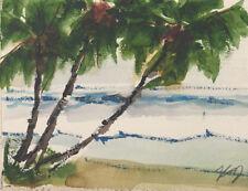 "New Original KEN Seascape Palms Watercolor Painting 5x7"" Pacific Ocean 090418-5"