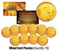 Lincoln Head 1940/50's WHEAT Cent Penny U.S. Coins 24K GOLD PLATED (Lot of 10)