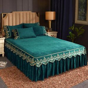 Crushed Velvet Elastic Bed Skirt Queen Qulited Bedspread Set King Full Bed Cover