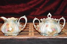 Gorgeous Vtg RS Prussia Satin Finish Footed Creamer and Lidded Sugar Bowl Marked