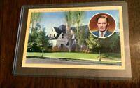 1940s California Linen Postcards, ERROL FLYNN & WALTER PIDGEON homes, VG