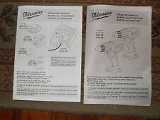 Milwaukee M18 Volt Cordless Drill 2603-20 2604-20 & Charger Operators Manual Set