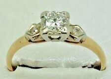 Vintage 14k Solid Yellow/white Gold Diamond ring 1940's 1950's