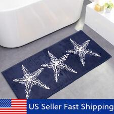 45''x18'' Anti-slip Soft Flannel Door Mat Kitchen Floor Rug Bathroom Carpet Blue