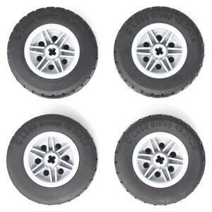 Lego 4x Genuine Technic Big Large Grey Wheels 49.5x20 49.5x20mm Black Tyres NEW