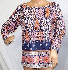 Ruby Rd. Women Size S Mauve Gray Amber Aztec Tee T Shirt Top Blouse