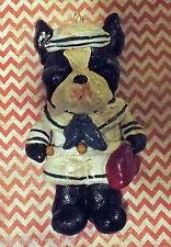 Folk Art Boston Terrier Dog Sailor Ornament Ooak Vintage Nostaglic Outsider Art