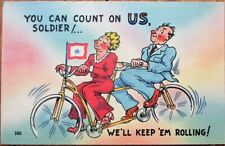 Tandem Bicycle Couple WWII 1940s Linen Postcard - We'll Keep 'Em Rolling!