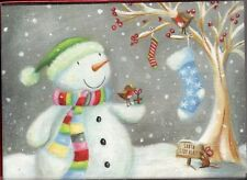 18 ct CHRISTMAS CARDS SANTA STOP HERE SIGN & SNOWMAN SNOWING BRAND NEW IN BOX