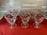 Vintage Set of 6 Clear Glass Ice Cream Sundae Dishes Footed Dessert Dishes Tulip