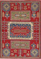 Pakistani Kazak Oriental Area Rug Wool Hand-Knotted Geometric 5x7 New Carpet RED