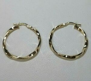 Genuine 9ct Yellow Gold Twisted Hoop Earrings  Medium to Large Size (Real Gold)