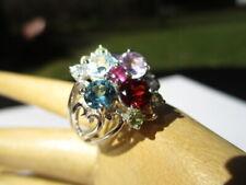 Multi Gem Topaz Garnet Citrines + 23- Estate 925 Sterling Silver Ring Rainbow