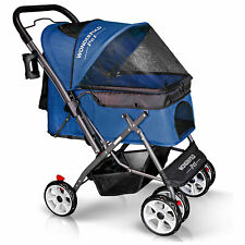 Wonderfold Folding Pet Stroller for Dogs and Cats, Dark Blue (Used)