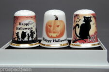 Happy Halloween Boxed Set of 3 China Thimbles B/187