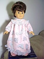 """18"""" doll clothes fit american girl, pink kitty nightgown set"""