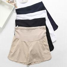 Maternity Pregnancy Lady Pregnant Cotton Linen High Waist Shorts Over Bump Pants