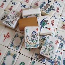 Vtg 1920s 152 Tiles, Deep Bone & Bamboo Mahjong Set, Inlay Box Mah Jongg Inlaid