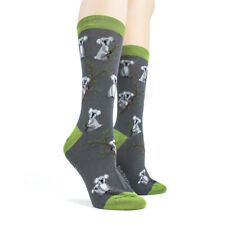 Foot Traffic Cotton Blend Gray Green Koala Bear Womans Crew Socks New